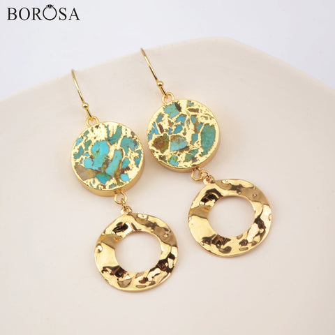Image of BOROSA Round Natural Turquoises Dangle Earrings