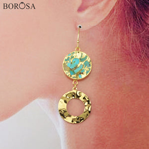 BOROSA Round Natural Turquoises Dangle Earrings