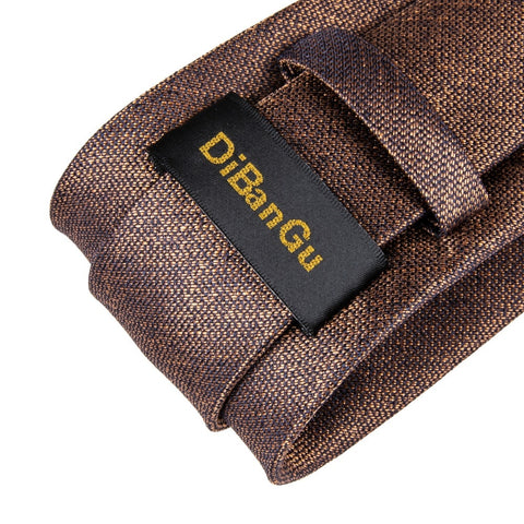 Image of BarryWang 8cm Fashion Brown Solid Tie Classic Necktie Coffee Neck Tie 100% Silk Ties