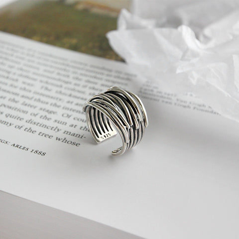Simple Style Silver Color Multilayer Line Rings For Women