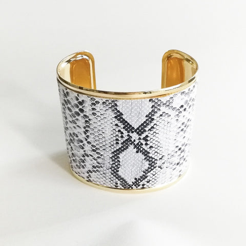 Image of Snake Print Leather Titanium Cuff
