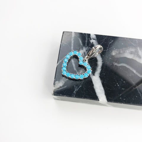 Image of Charm Necklace Blue Heart & Tree 925 Sterling Silver