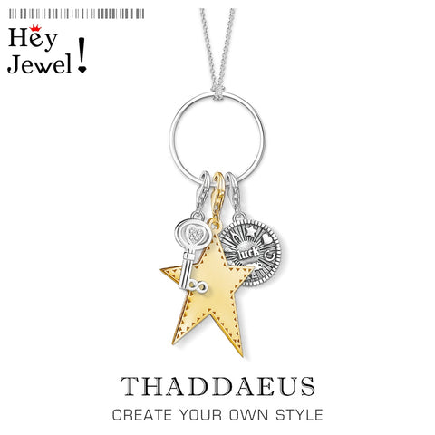 Charm Necklace Lucky Star Key 925 Sterling Silver