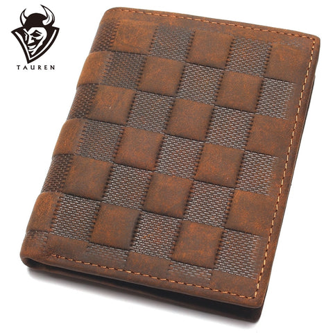 Image of Crazy Horse Leather Men's Top Layer Leather Lattice Wallet Business Real Leather