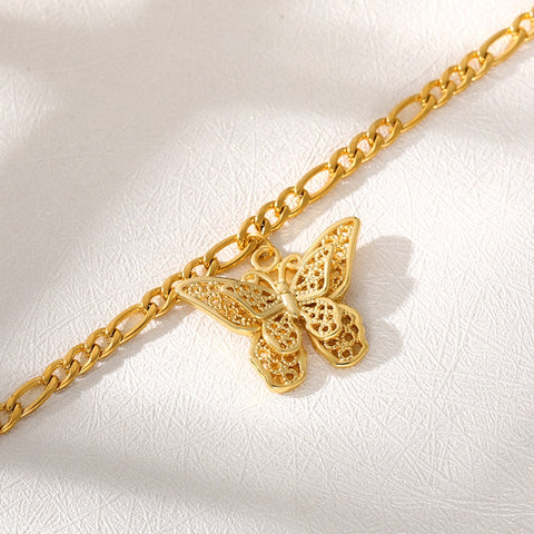 Cute Butterfly Anklets For Women Stainless Steel Gold Charm Chain Butterfly Shape Anklet Beach Foot Sandal Bohemian