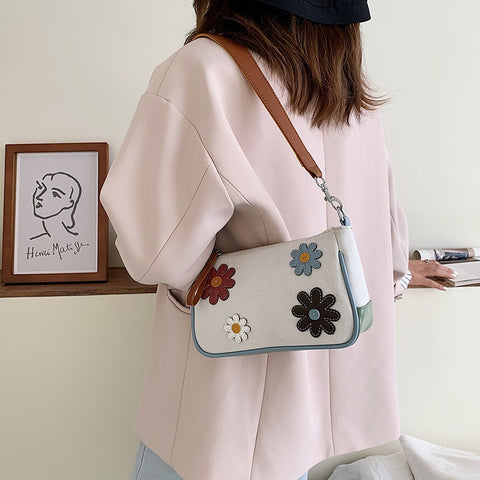 Spring Summer Flower Underarm Bag Canvas