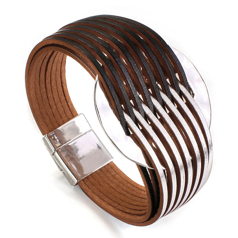 Image of Fashion Leather Bracelets For Women 2020 Simple Multicolor Alloy Multilayer Magnet Charm Wrap Bangles