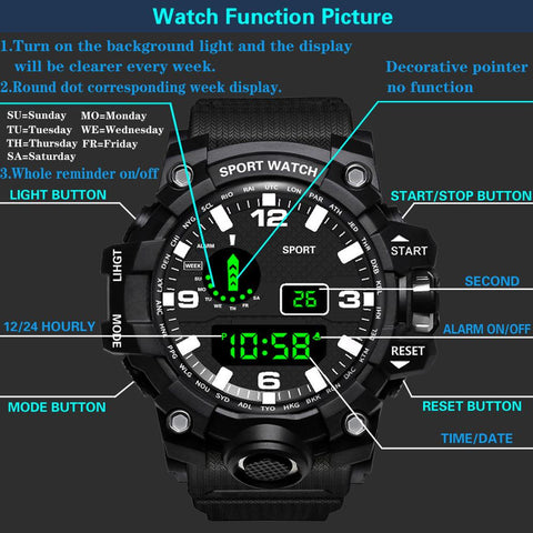 Image of Fashion Mens Watches Waterproof Men's Boy LCD Digital Stopwatch Date Rubber Sport Wrist Watch Waterproof Relogio Clock reloj Q7