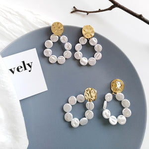 Fashion Women Simulated pearl Round Stud Earrings