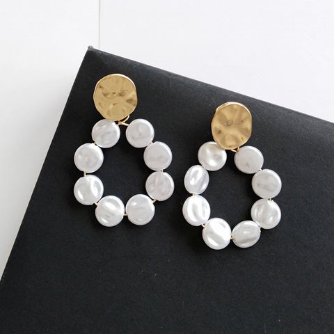 Image of Fashion Women Simulated pearl Round Stud Earrings