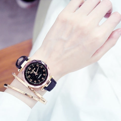 Image of Fashion Women Watches Starry Sky Ladies Bracelet Watch Casual Leather Quartz Wristwatches