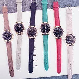 Fashion Women Watches Starry Sky Ladies Bracelet Watch Casual Leather Quartz Wristwatches