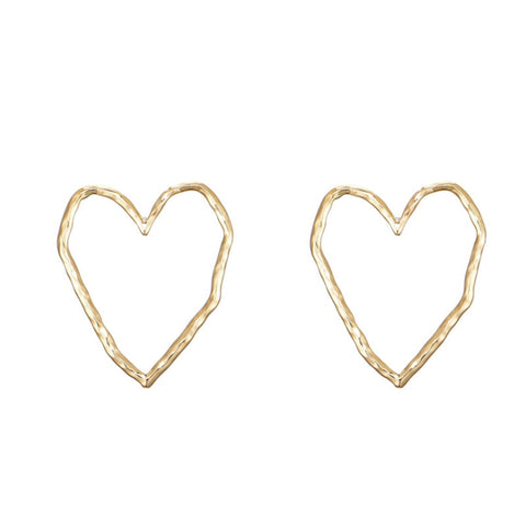 Image of Fashion metal hollow heart stud earrings