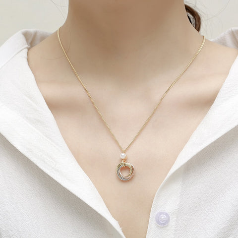 Image of Fashion pendant freshwater pearls Round tricolor necklace