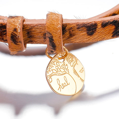 Image of Flashbuy Fashion Leopard with Life Tree Alloy Charm Leather Bracelet