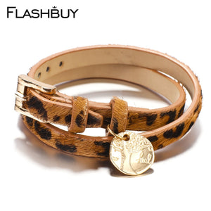 Flashbuy Fashion Leopard with Life Tree Alloy Charm Leather Bracelet