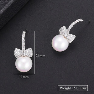 GODKI Fashion Cubic Zirconia Bowknot Imitation Pearl Stud Earrings