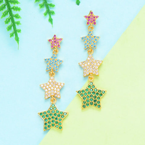 Image of GODKI Star Collection Charms 2019 Trendy Full AAA Cubic Zircon Earrings