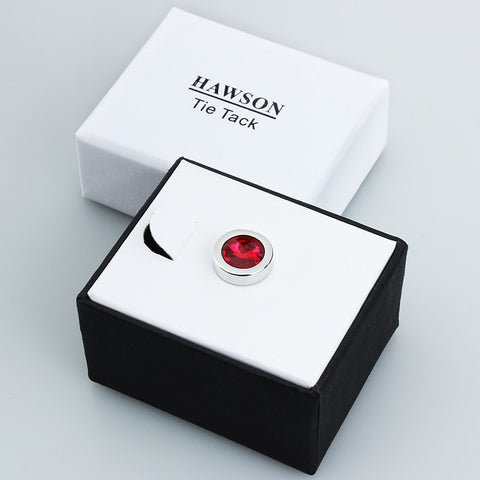 Image of HAWSON Free Shipping Round Crystal Tie Tack for Men's Shirt Jewelry Fashion Tie Pin Gift for Men