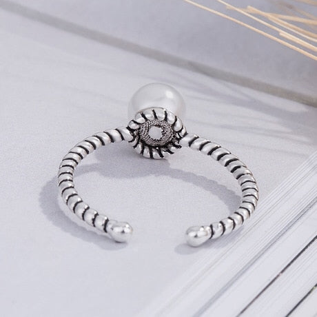 Great White Pearl Leaves Pure 925 Sterling Silver Ring