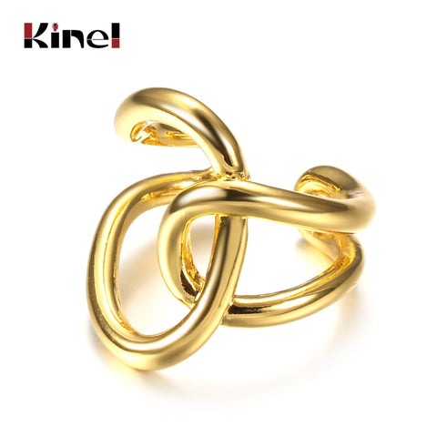 Image of Kinel Geometric Simple Multi layer Hollow Cross Gold