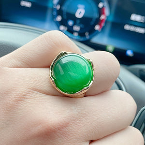 Kinel Ring Gold Color Mosaic Natural Green Opal