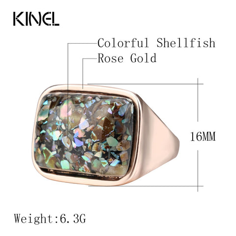 Image of Kinel Luxury Women's Ring Stylish Simplicity Vintage Jewelry Rose Gold