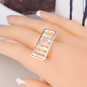 Kinel UniqueTrendy Enamel Rings For Women Silver Color