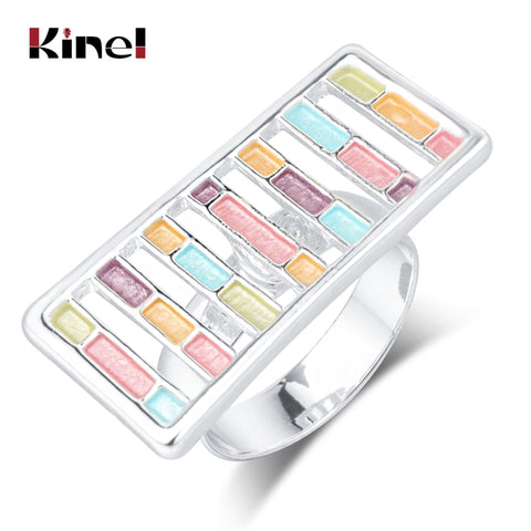 Image of Kinel UniqueTrendy Enamel Rings For Women Silver Color