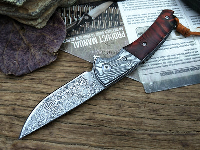 LCM66 Damascus Folding knife Handmade forged knife hunting knife 60HRC Ebony handle with Portable knife Tools Sharp Outdoor knif