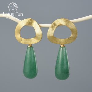 Lotus Fun Natural Gemstone Dangle Earrings 925 Sterling Silver Handmade