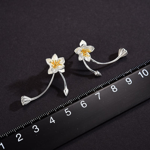 Image of Lotus Fun Real 925 Sterling Silver Lotus Whispers Long Drop Earrings