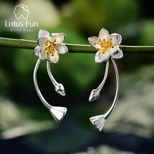 Lotus Fun Real 925 Sterling Silver Lotus Whispers Long Drop Earrings