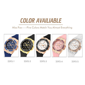 Women Chronograph Watch Waterproof Rubber Quartz