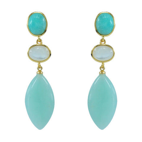 Moonstone Amazonite emerald natural stone silver 925 earrings