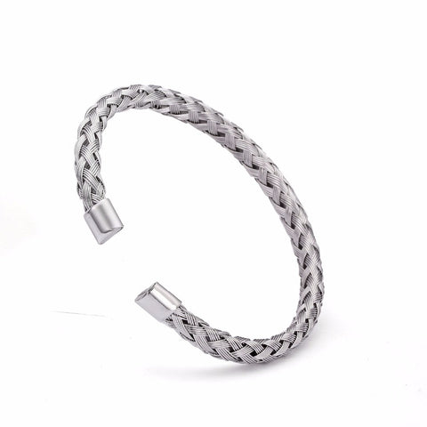 Silver Braided Charm Cuff Bracelets Men Jewelry Casual Chain Round Charm