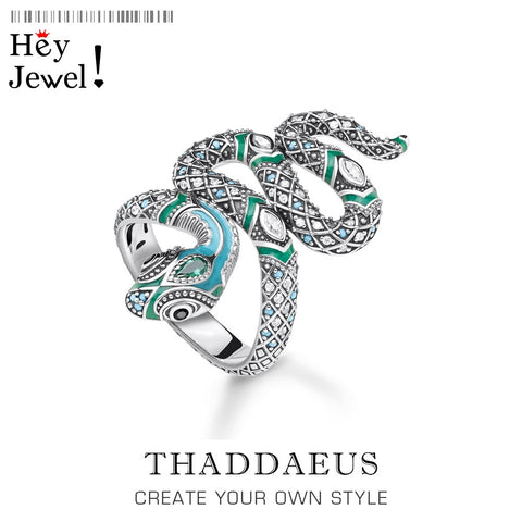 Image of Open end Blue Snake Pave Ring,Thomas Myth In 925 Sterling Silver Ring