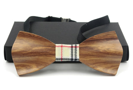 RBOCOTT 3D Wooden Bow Tie Men's Red Wedding Bowties With Box
