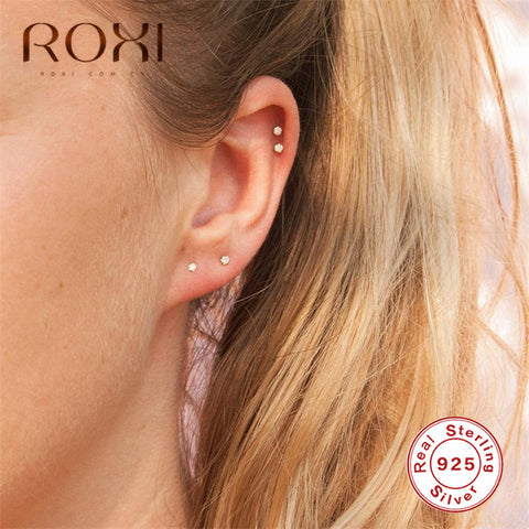 ROXI Minimalist 925 Sterling Silver Three Ball Stud Earrings Delicate Tiny Dot Small Earrings