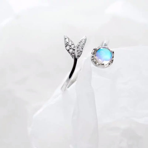 Image of Real 925 Sterling Silver Cute tail moonstone Personality Adjustable Ring