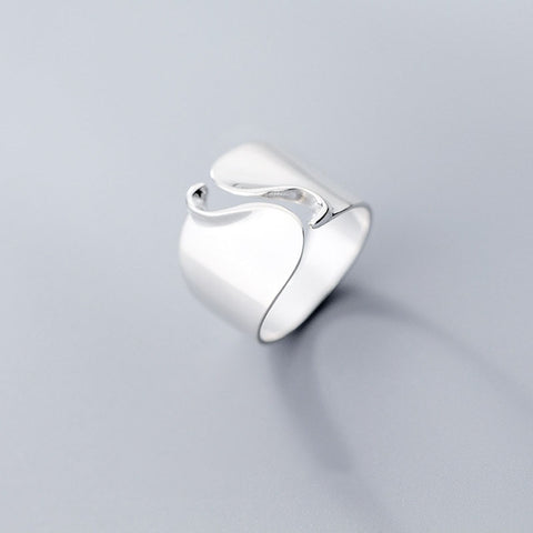 Real 925 Sterling Silver Minimalist Wave Wide Opening Ring