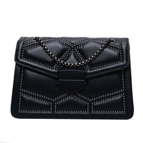 Image of Rivet Square Crossbody Bag 2020 Fashion New High Quality PU Leather