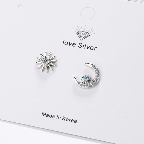 Image of Romantic 925 Sterling Silver Star Moon Asymmetrical Stud Earrings With Blue Zircon
