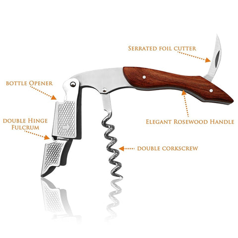 Image of Rose Wood Handle Professional Wine Opener Multifunction Portable Screw Corkscrew