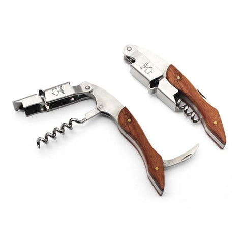 Image of Rosewood Wood Handle Stainless Red Wine Corkscrew Double Hinge Waiters Wine Bottle Beer Cap Opener