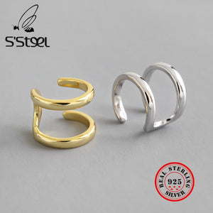 S'STEEL 925 Sterling Silver Clip On Earrings Gold Korean Ear Cuff Earring