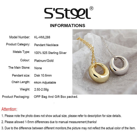 Image of S'STEEL Real Silver 925 Necklace Geometric Circle Pendants Two Color