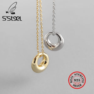S'STEEL Real Silver 925 Necklace Geometric Circle Pendants Two Color