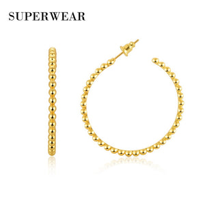 SUPERWEAR Beaded Hoops Silver Plated Yellow Gold or Silver