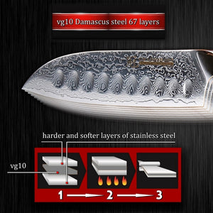 Santoku Knife 5 Inch vg10 Japanese Damascus Steel Kitchen Knife 67 Layers